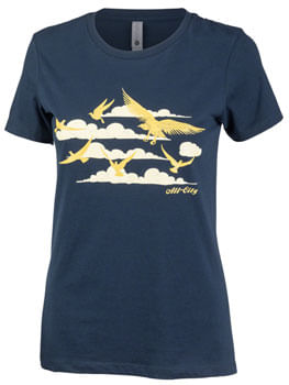 All City Women's Fly High T-Shirt - Navy, Gold, Small