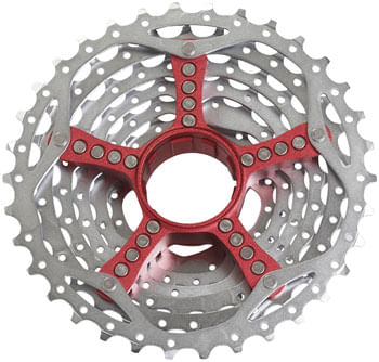 SRAM PG-990 Cassette - 9 Speed, 11-34t, Silver, With Red Spider