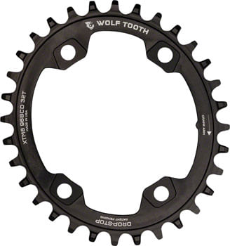 Wolf Tooth Elliptical 96 BCD Chainring - 30t, 96 Asymmetric BCD, 4-Bolt, Drop-Stop, For Shimano XTR M9000 and M9020 Cranks, Black