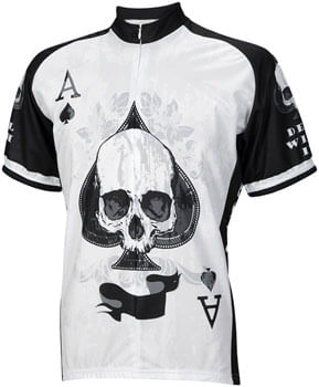 World Jerseys Deal with It Ace of Spades Jersey - White/Black, Short Sleeve, Men's, Large