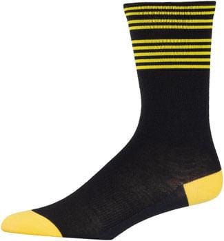 45NRTH Lightweight Sock Black/Citron Stripe LG