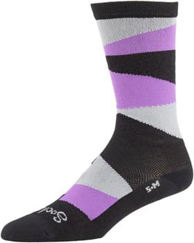 All-City Full Block Sock - 8 inch, Black, Purple, Gray, Large/ X-Large