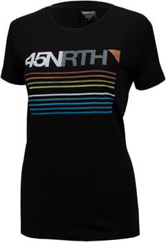 45NRTH Team Stripe Women's Merino T-Shirt: Black MD
