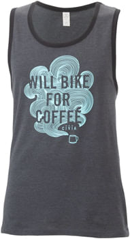 Civia Will Bike for Coffee Men's Tank - Charcoal, Black, Cyan, Large