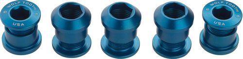 Wolf Tooth Set of 5 Chainring Bolts for 1x use, Dual Hex Fittings, Blue