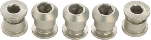 Wolf Tooth Set of 5 Chainring Bolts for 1x use, Dual Hex Fittings, Silver