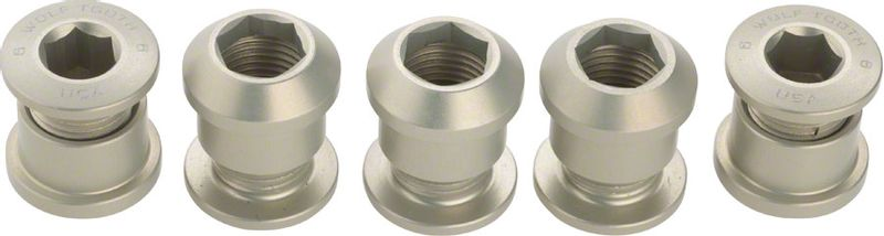 Wolf-Tooth-Set-of-5-Chainring-Bolts-for-1x-use-Dual-Hex-Fittings-Silver-CH4736-5