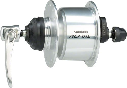 Shimano Alfine DH-S501 Dynamo Front Hub - QR x 100mm, Center-Lock, Silver, 32h