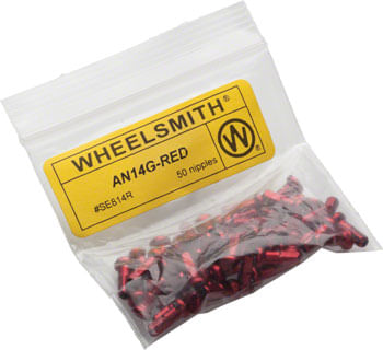 Wheelsmith 2.0 x 12mm Red Alloy Nipples, Bag of 50