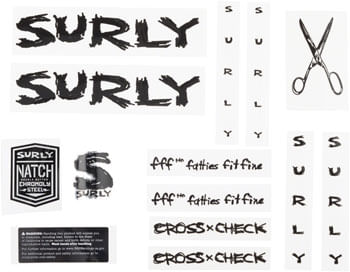Surly Cross Check Frame Decal Set - Black, with Scissors