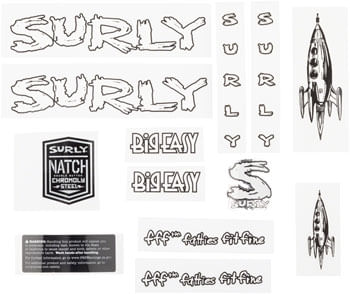 Surly Big Easy Frame Decal Set - White, with Rocket