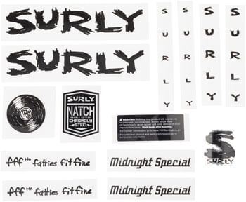 Surly Midnight Special Frame Decal Set - Black, with Record