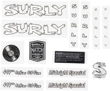 Surly Midnight Special Frame Decal Set - White, with Record