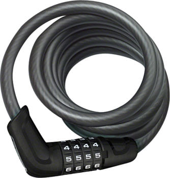 ABUS Tresor 6512 Combination Coiled Cable Lock: 180cm x 12mm With Mount, Black