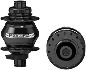 SP 7 Series Dynamo Front Hub - PL-7,  6V 3W, 12 x 100mm, Centerlock, 32 hole, Black