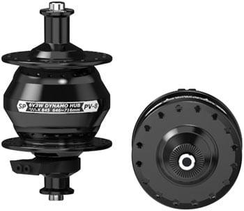SP 8 Series Dynamo Front Hub - PV-8, 6V- 3W, QR x 100mm, Rim, 32 hole, Black