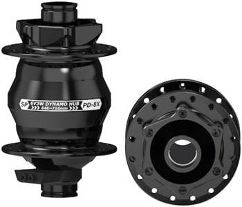 SP 8X Series Dynamo Front Hub - PD-8X-110 6V- 3W, 15 x 110mm, 6-Bolt, 32 hole, Black