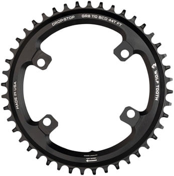 Wolf Tooth Shimano 110 Asymmetric BCD Chainring - 36t, 110 Asymmetric BCD, 4-Bolt, Drop-Stop Flattop, For Shimano GRX Cranks, Black