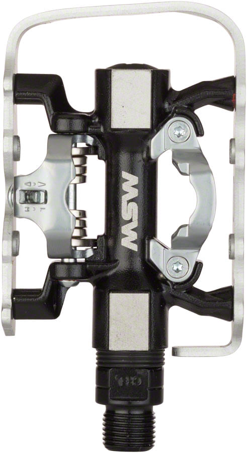 """MSW CP-200 Pedals - Single Side Clipless with Platform , Aluminum , 9/16"""", Black/Silver"""