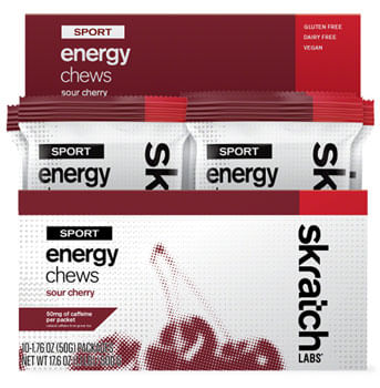 Skratch Labs Sport Energy Chews - Caffeinated Sour Cherry, Box of 10