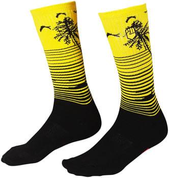 Fist Handwear Miami: Phase 2 Crew Sock - Black/Yellow, Large/X-Large