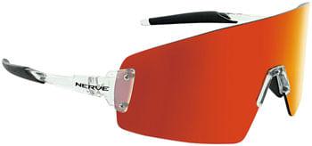 Optic Nerve FixeBLAST Sunglasses - Shiny Crystal Clear, Smoke Lens with Red Mirror