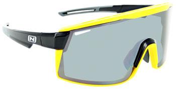 Optic Nerve Fixie Max Sunglasses - Black, Yellow Lens Rim, Smoke Lens with Silver Flash