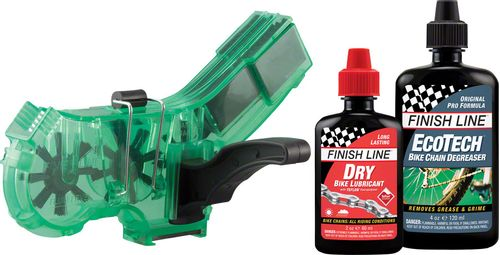 Finish Line Pro Chain Cleaner with 2oz DRY Chain Lubricant and 4oz EcoTech Degreaser