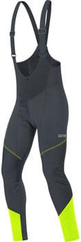 GORE C3 GWS Bib Tights+ - Black/Neon Yellow, Men's, X-Large