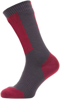 Sealskinz Waterproof Cold Weather Mid Length Sock with Hydrostop - 5 inch, Grey/Red/White, X-Large