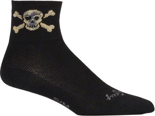 SockGuy Classic Pirate Socks - 3 inch, Black, Small/Medium