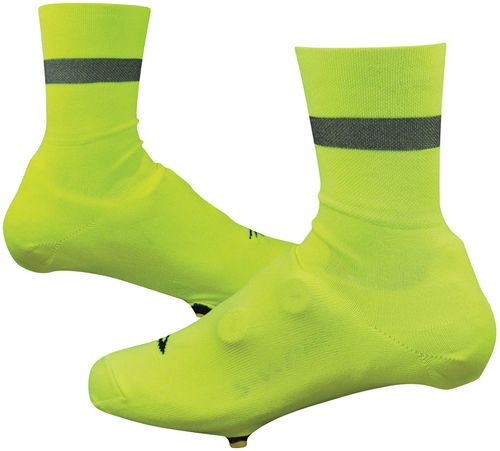 Defeet Slipstream D-Logo Reflective Shoe Covers - 4 inch, Hi-Vis Yellow/Black, Large/X-Large