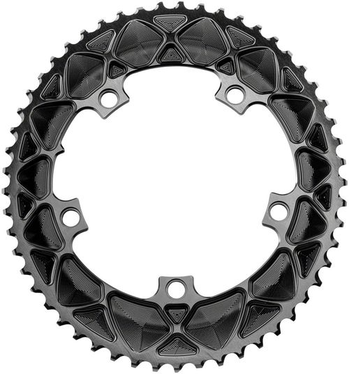 absoluteBLACK Premium Oval 130 BCD Road Outer Chainring - 53t, 130 BCD, 5-Bolt, Black