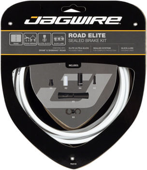 Jagwire Road Elite Sealed Brake Cable Kit SRAM/Shimano with Ultra-Slick Uncoated Cables, White